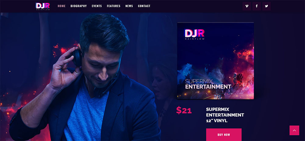 Dj Rainflow best nightclub wordpress theme