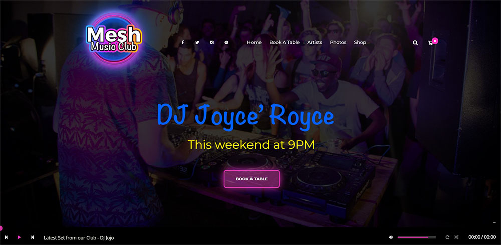 Mesh best nightclub wordpress theme