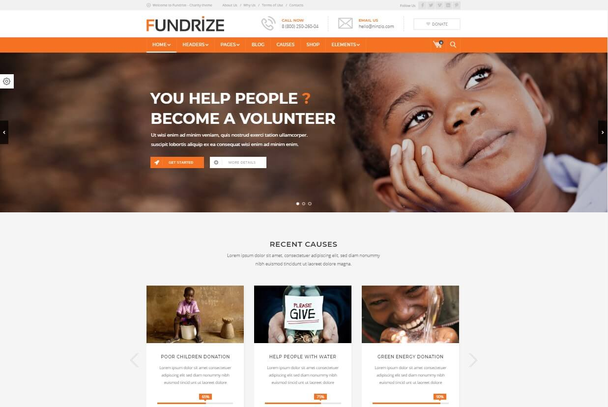 Fundrize Responsive Donation & Charity WordPress Theme