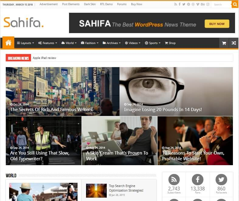 Sahifa Review WordPress Theme 2019